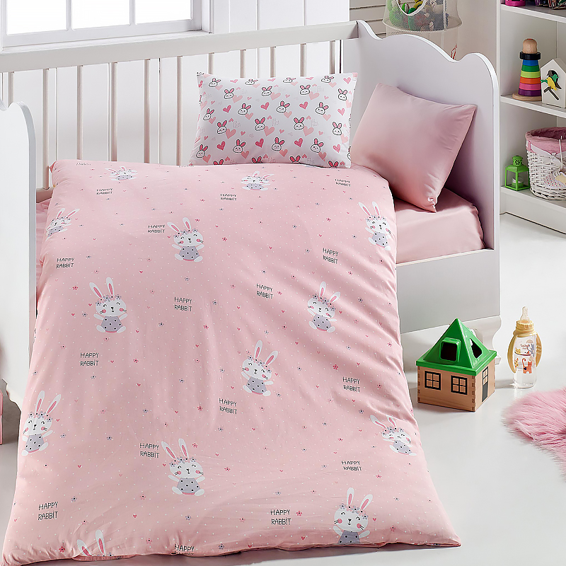 Lady Moda Rabbit 4 Pcs Baby Bedding Set 100x150 Cm Crib Bedding Set 100% Cotton Cartoon Baby Bed Linen Set From Turkey