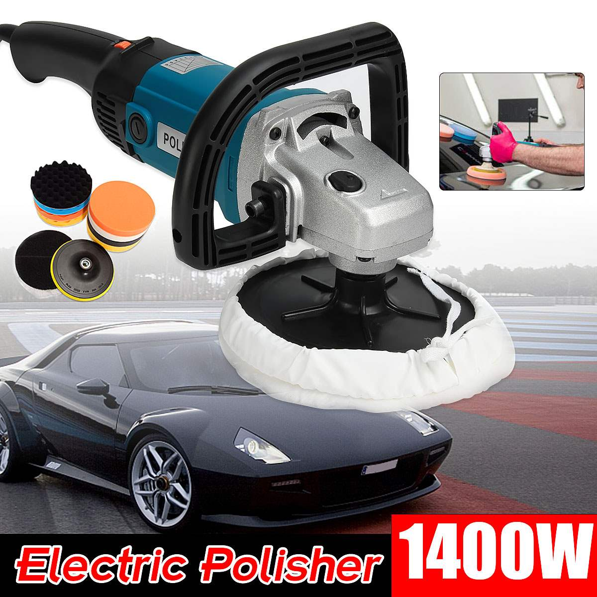 Car Body Sander Electric Car Polisher Buffer Machine 180mm Polishing Sanding Kit