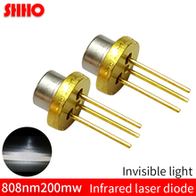 Laser semiconductor TO18/diameter 5.6mm 808nm 200mw infrared laser diode IR laser launching head machine sensing accessories jdsu 850nm 500mw laser diode with pd ir infrared laser module to18 5 6mm