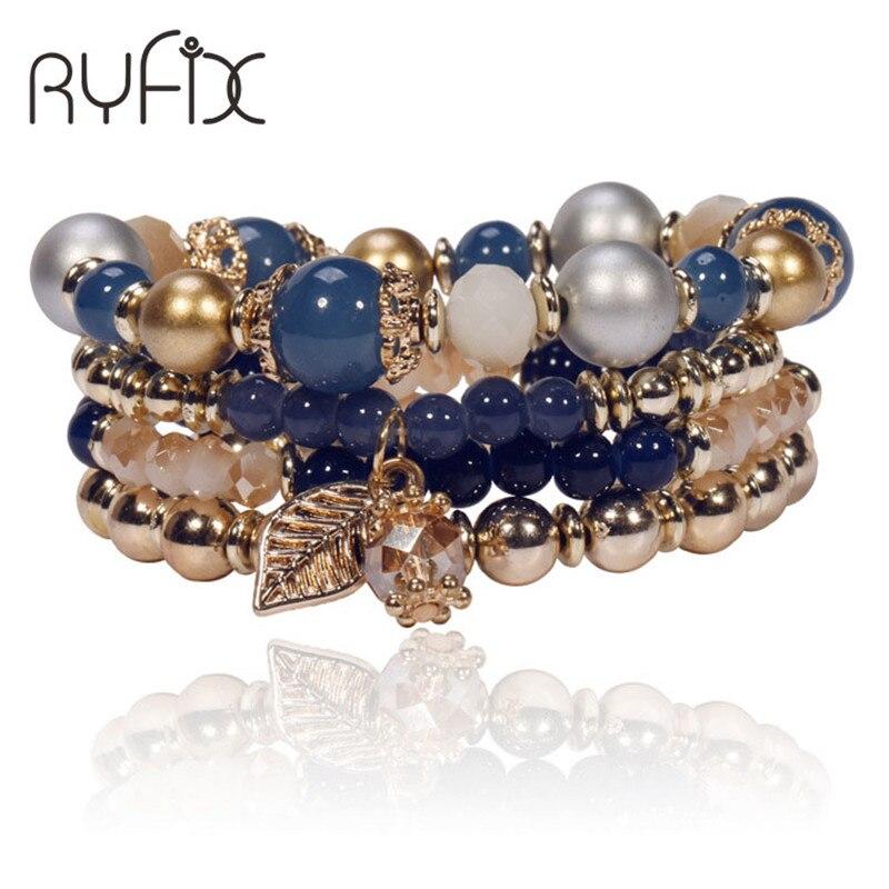 2018 New Arrival Colorful Beads Bracelet Bohemia Beads Leaves Multilayer Bracelets Stretch Bracelet For Women Pulseras SL02