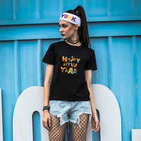Summer Women's Colorful Happy New Year Print O-Neck Short Sleeve Top Tee T-Shirt
