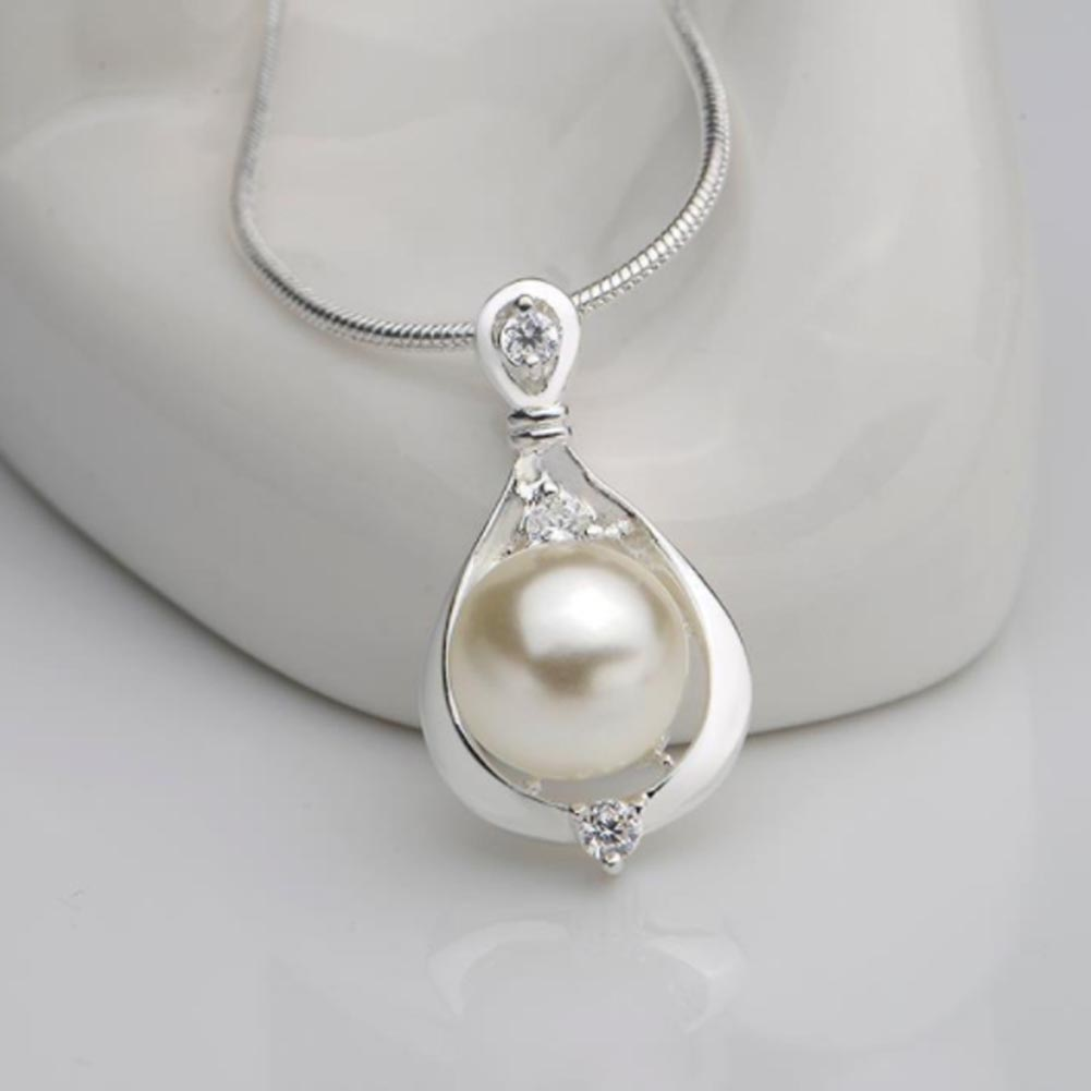 Pendant Necklace Simulated Pearl Elegant Lady Gift Silver-Color Wholesale Women NL2487