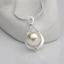 NL2487 Горячее предложение, элегантное серебряное ожерелье с подвеской из искусственного жемчуга, 18 дюймов, подарок для женщин и мам
