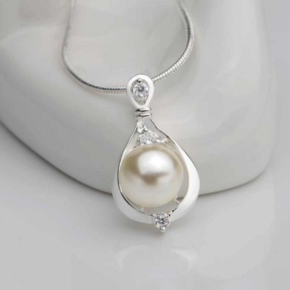 2017 NL2487 Hot Elegant Silver Color Simulated Pearl Pendant Necklace 18inch Lady Gift Mother Women Wholesale