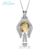 L&zuan Sterling Charms Silver 925 Pendants Necklaces Women 7.38ct Natural Citrine Necklace Fine Jewelry Drop Shipping P0043 W05