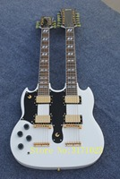 Custom 1275 Double neck left handed guitar Double neck Electric Guitar in white 6/12 strings Free Shipping