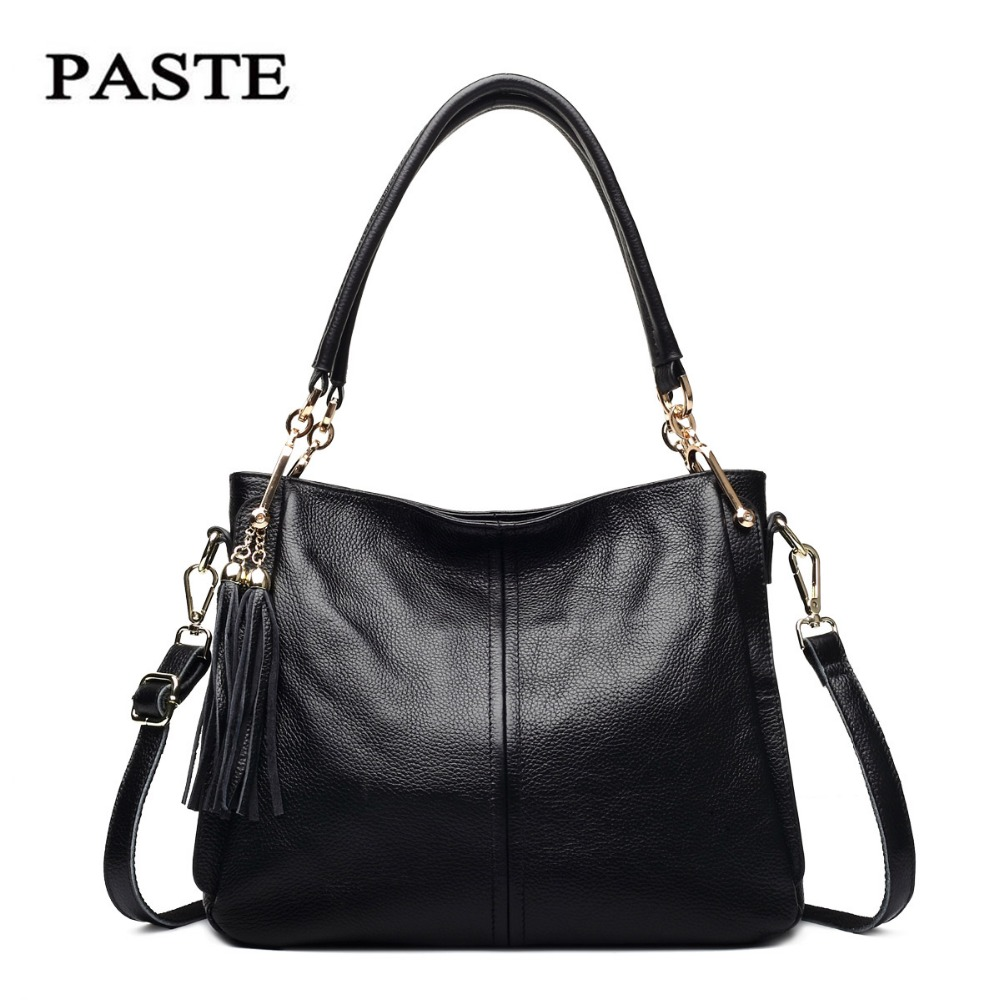 2017 PASTE Women Handbags Autumn&Winter Fashion Soft Genuine Leather Tassels Female Handbags Cowhide Shoulder bags for Lady 0735 2017 autumn and winter new women genuine leather handbags female bags oil wax cowhide handbags fashion shoulder messenger bags