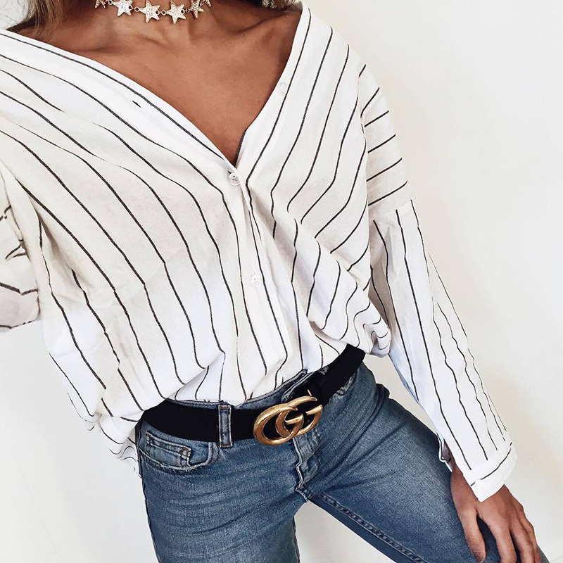 2018 Hot New Women Fashion 3/4 Sleeve Loose Blouses Casual V-neck Summer Tops Batwing Sleeve Striped Shirts Chemise Femm