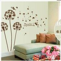Brown Riding Dandelion flower Wall Sticker For Kindergarten Livingroom Bedroom Home Decor Marriage Wedding Decoration AY695