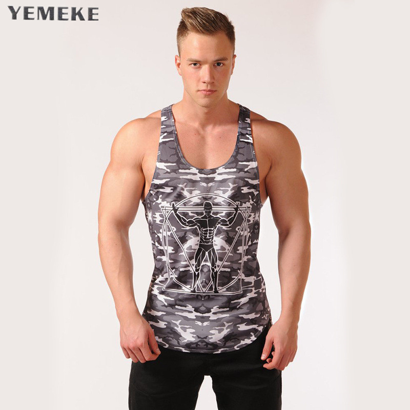 YEMEKE 2018 new summer camouflage gyms   tank     top   men bodybuilding good quality EU size Mens Singlet Sleeveless shirt