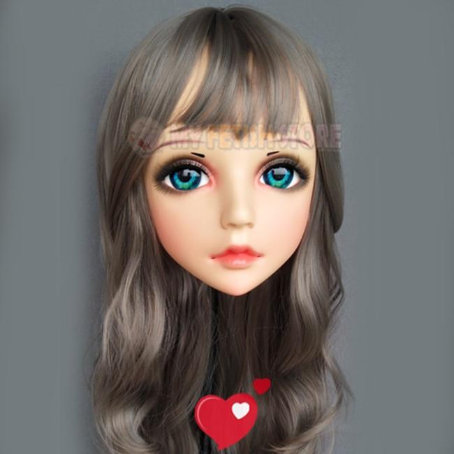 female Sweet Girl Resin Half Head Kigurumi Mask With Bjd Eyes Cosplay Japanese Anime Role Lolita Mask Crossdress Doll Great Varieties Systematic hua-03