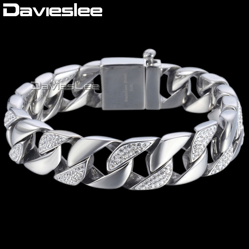 Davieslee Curb Link Bracelet Chain Mens Boys Iced-out Rhinestones Hiphop 316L Stainless Steel Silver Tone 15mm DHB467 gj303 rhinestones 316l stainless steel couple s ring black silver size 9 7 2 pcs