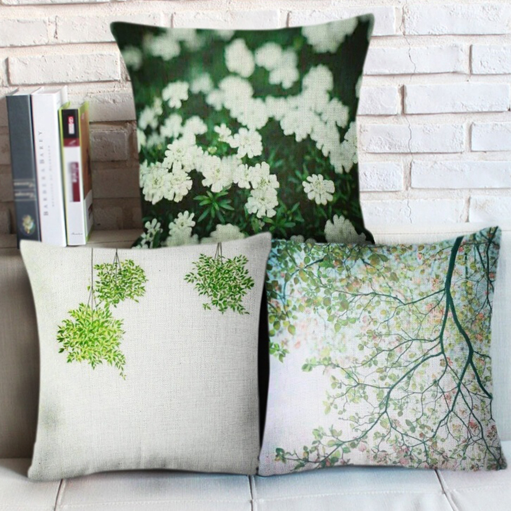 Throw Pillow On Chair : Green Leaves Chair Throw Pillow Case Home Office Car Sofa Linen Cushion Cover -in Cushion Cover ...