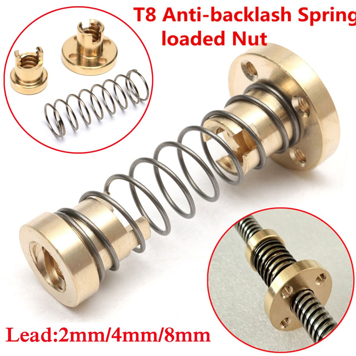 3D Printer Parts T8 Anti-Backlash Spring Loaded Nut For 2mm /4mm/ 8mm Acme Brass Threaded Rod Lead Screws Adjustable