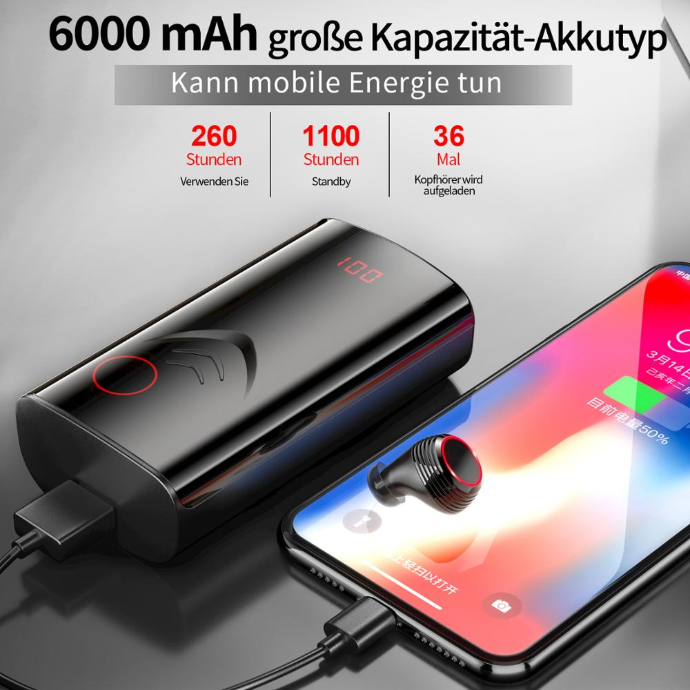 Batterie externe Mobile 6000 mAh powerbank + sans fil Bluetooth 5.0 écouteurs stéréo HIFI réduction du bruit étanche Sports écouteurs