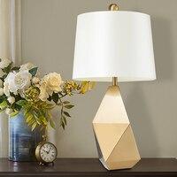 Modern Nordic E27 Geometric shape Iron art Table Lamps Creative Living Room Bedroom Bedside Golden Lamps