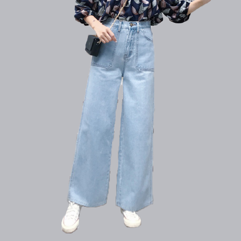 Plus Size high waist Jeans Women High Quality Wide Leg Jeans Lady Fashion Full Length Big Straight Denim trousers Wide Leg Pants 2017 new jeans women spring pants high waist thin slim elastic waist pencil pants fashion denim trousers 3 color plus size