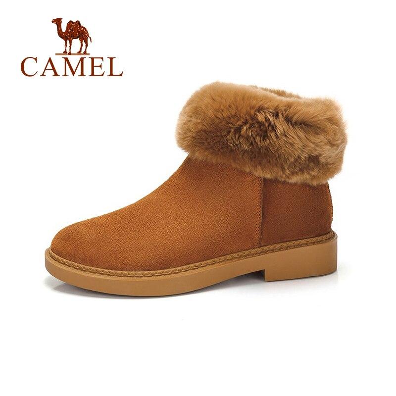 CAMEL Snow Boots Shoes Women Winter Cute Playful Style Boots Shoes Women Plus Velvet Keep Warm Long hair Shoes цена