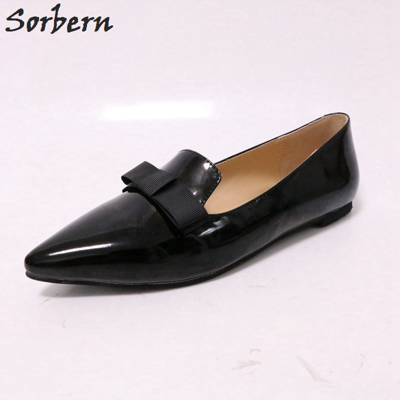Sorbern Pointed Toe Flat Women Shoes Bowknot Slip On Flats Slip On Shoes For Women Size 11 Ladies Flat Shoes Chinese Shoes 2018 dropshipping women flats shoes slip on with fur pointed toe winter oxfords shoes for women loafers shoes plus size 41 42 43