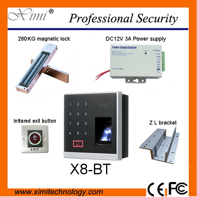 280KG EM Electro Magnetic Locks, 12V Power, Exit Buttons And The X8-BT Fingerprint Access Control With ID Card And Bluetooth