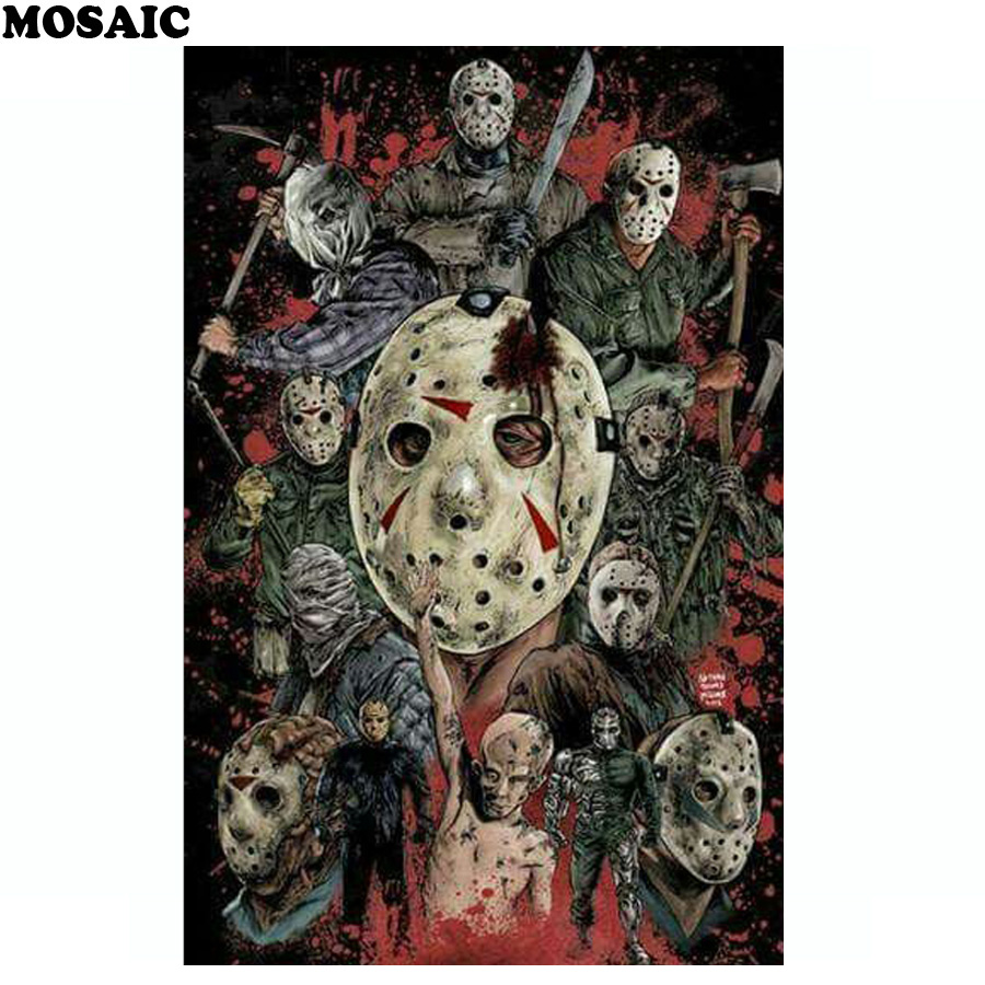Full square diamond drill embroidery mosaic pattern 5D Horror movie characters diamond painting mosaic cross stitch home decor