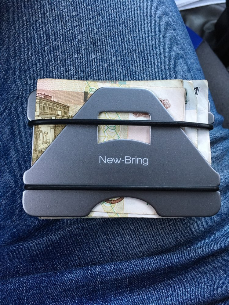NewBring Fashion Metal ID Credit Card Holder Black Pocket Box Business Cards Wallet With RFID Anti-chief Wallet Men photo review