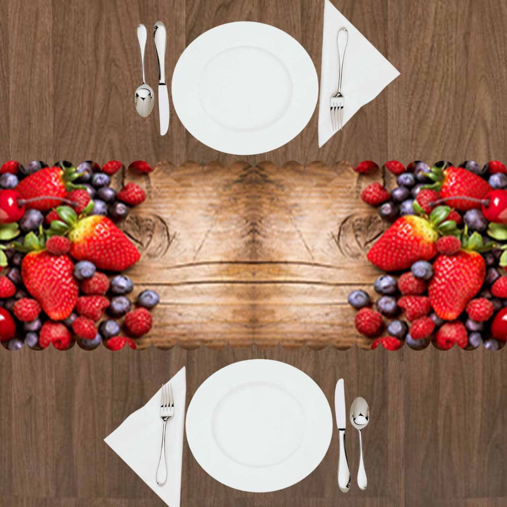 Else Brown Tree Wooden Red Strawberry Fruit Black Grape 3d Print Pattern Modern Table Runner  For Kitchen Dining Room Tablecloth