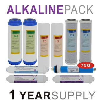 Alkaline Reverse Osmosis System Replacement Filter Sets - 10 Filters with 75 GPD RO Membrane Elements -1 Year Supply 1 year supply alkaline ultraviolet reverse osmosis system replacement filter set 11 filters with uv bulb and 50 gpd ro membrane
