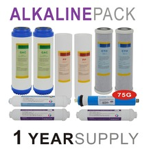 Alkaline Reverse Osmosis System Replacement Filter Sets - 10 Filters with 75 GPD RO Membrane Elements -1 Year Supply
