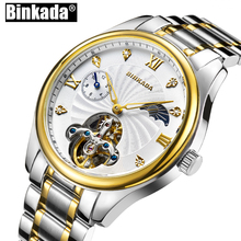 BINKADA New Men's Mechanical Watches Skeleton Toubillon Watches Luxury Fashion Business Casual Watches Self Wind Men Watch(China)