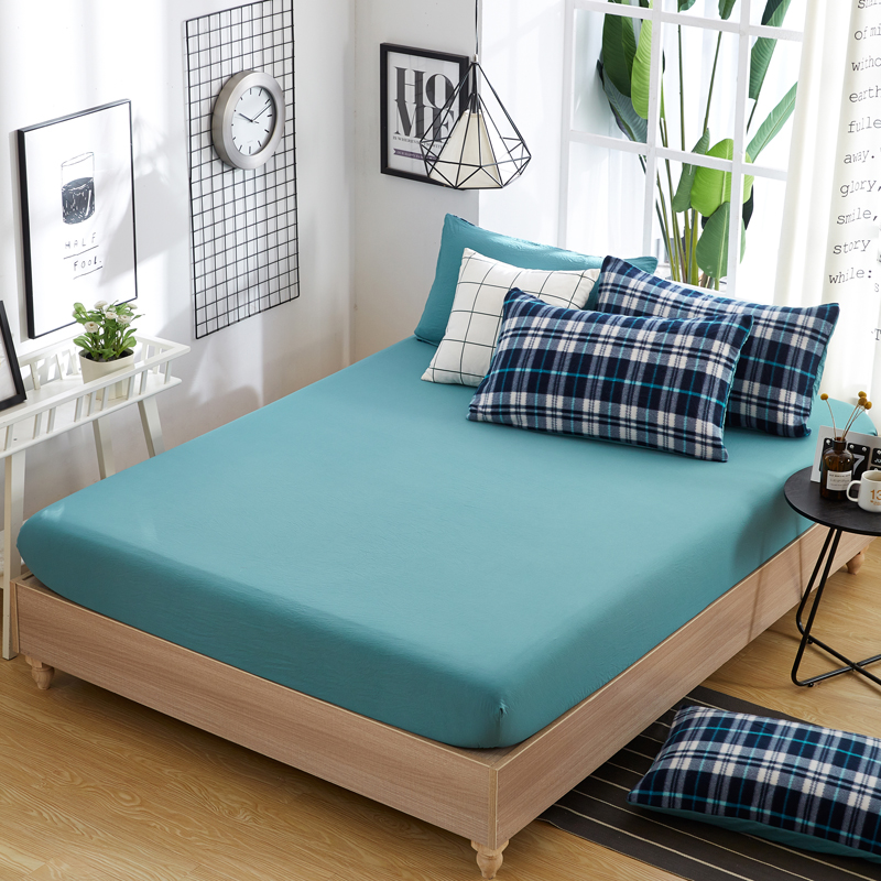 100 polyester fitted sheet mattress cover four corners with elastic band bed sheets 150cm 200cm. Black Bedroom Furniture Sets. Home Design Ideas
