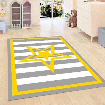 Else Yellow Border Gray Lines Star Modern Decorative 3d Print Non Slip Microfiber Children Kids Room Decorative Area Rug Mat