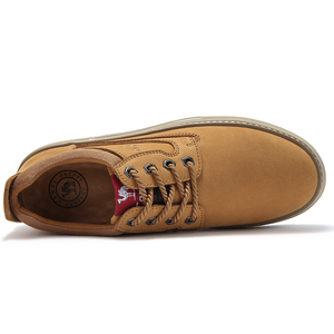 Image 2 - CAMEL Autumn Winter New Genuine Leather Scrub Casual Shoes Fashion Mens Short Boots Wear Fashion casual Men Shoes