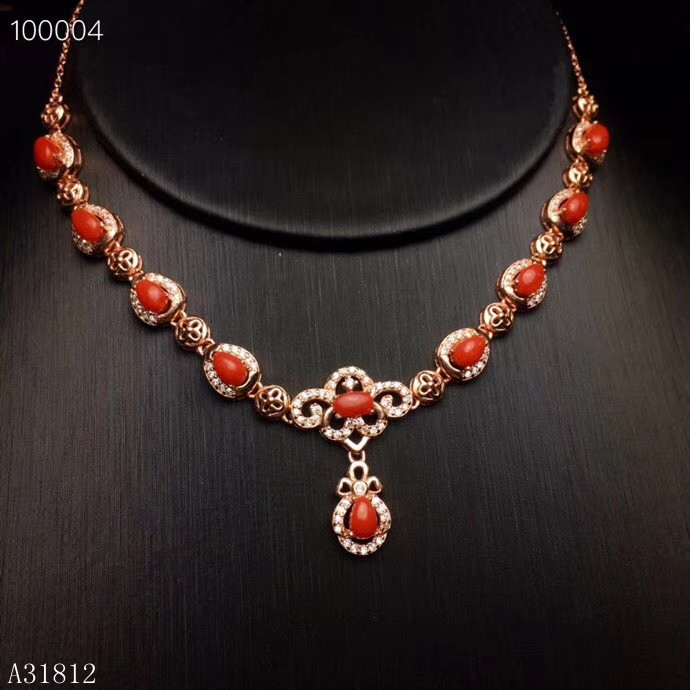 KJJEAXCMY boutique jewelry 925 Silver inlaid Natural Red Coral Ruby Girls Necklace Support Detection