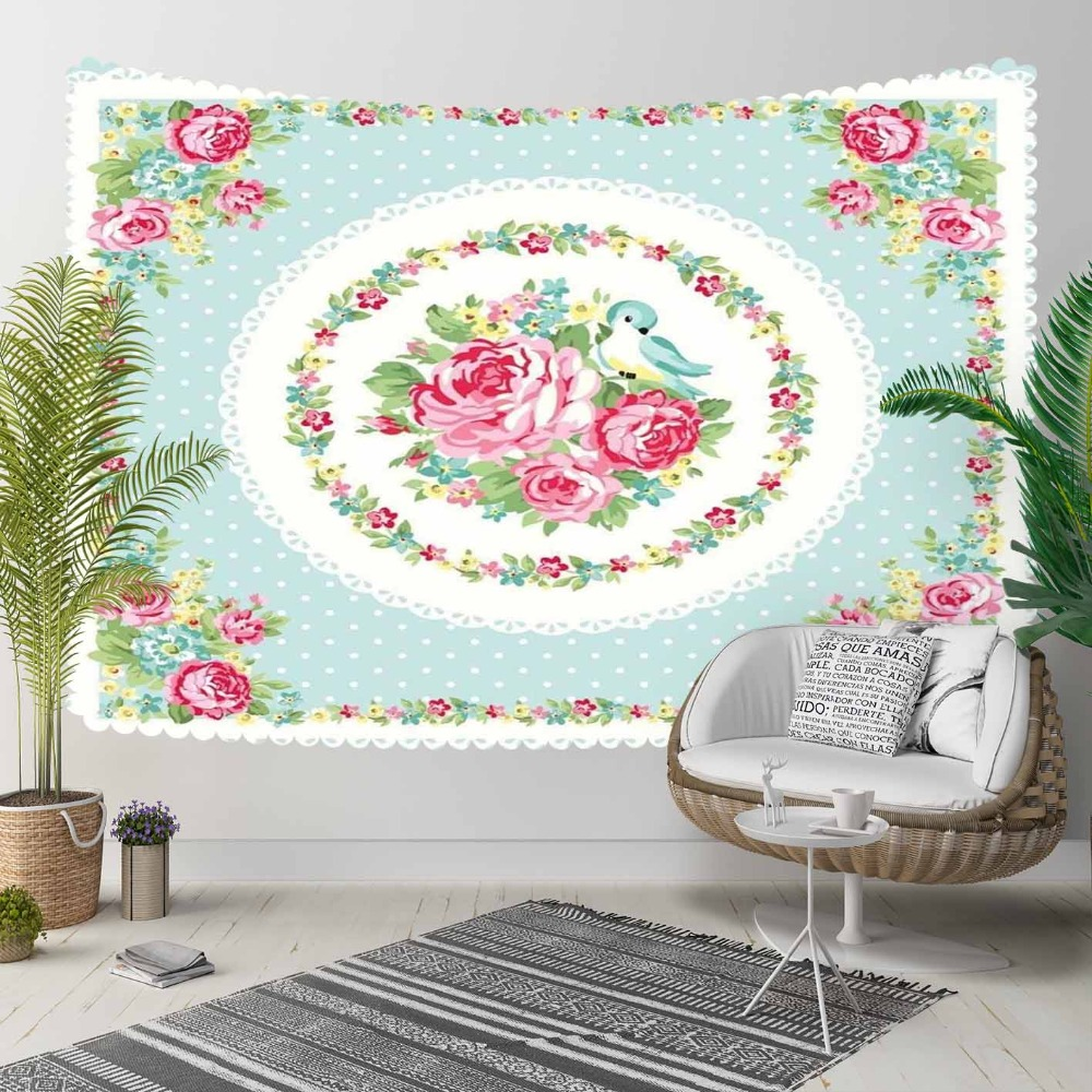 Else Blue Floor Ethnic Pink Roses Green Leaf Flowers 3D Print Decorative Hippi Bohemian Wall Hanging Landscape Tapestry Wall Art