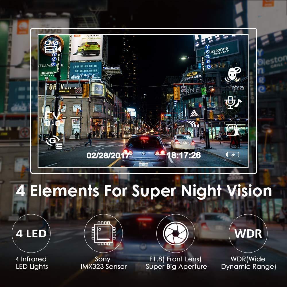 AZDOME GS65H автомобильный мини видеорегистратор с двумя объективами, фронтальная камера Full HD 1080P/задняя камера 720P, автомобильная камера ночного ...
