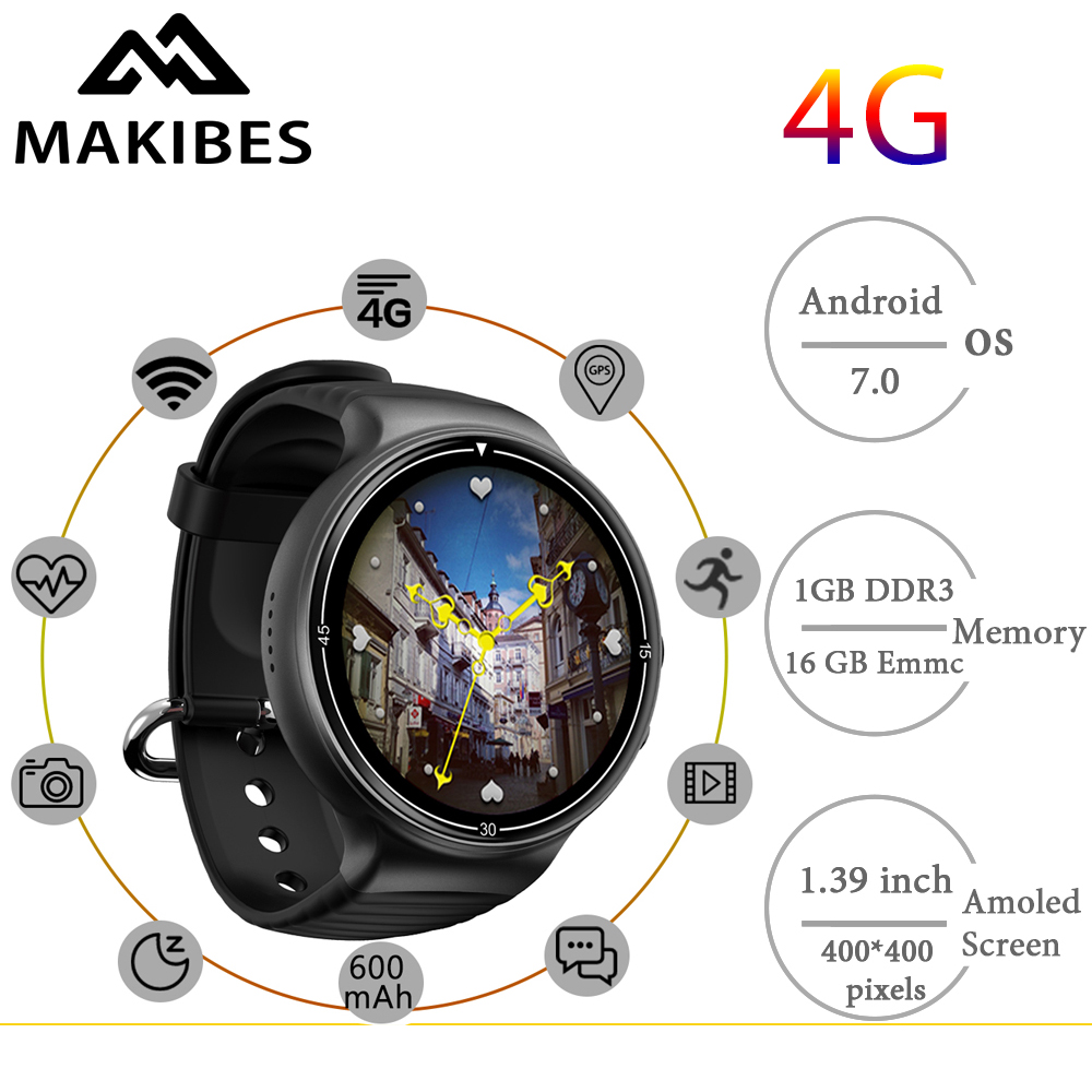 Free shipping Makibes MK02 Men's 4G Camera Smartwatch Phones 1MB+16GB GPS WiFi Pedometer Heart Rate Wristwatches Android 7.0 IOS free shipping makibes mk01 smart watch 1mb 16gb wifi 4g gps heart rate bluetooth quad core google map browser i7 watches phone