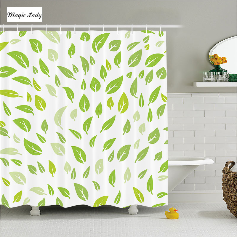 Olive Green Bathroom Ideas: Shower Curtain Green Bathroom Accessories Olive Leaves