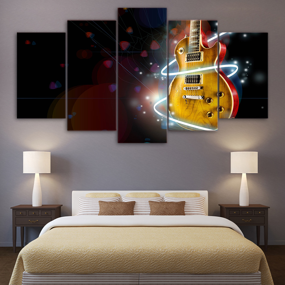 5 parte Abstrata Guitarra Legal Pintura Home Decor Modern Wall Art Canvas Pictures Canvas Impresso Música Abertura Poster Wall Decor