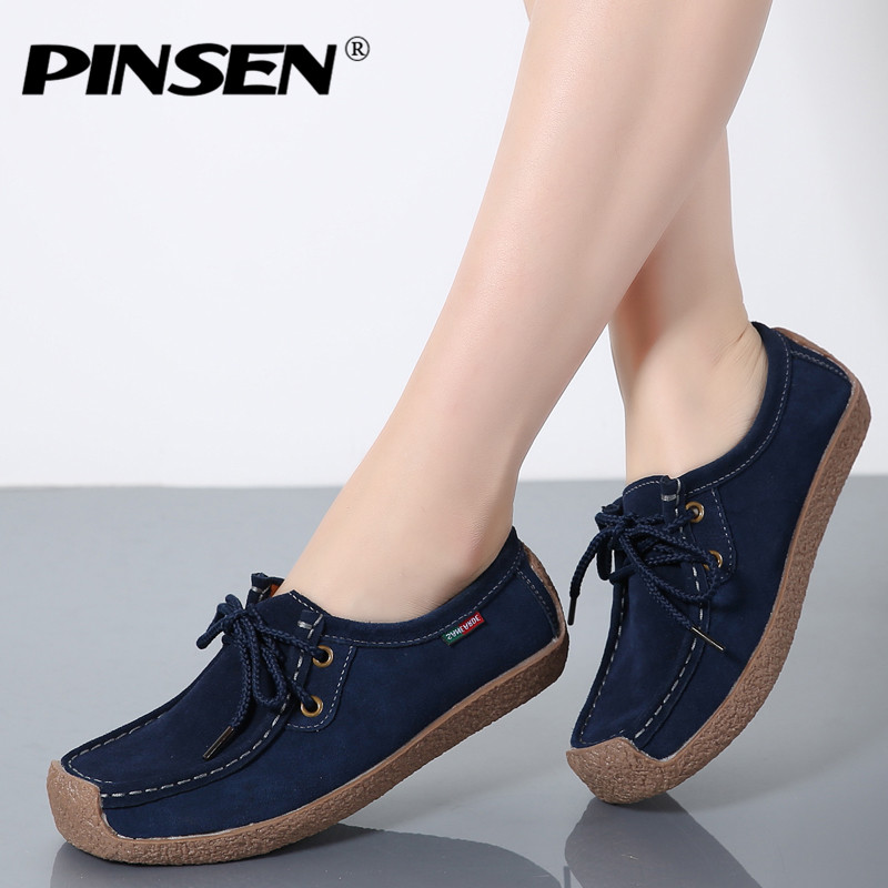 PINSEN Brand Comfortable 2017 Loafers Women Suede Leather Flat Platform Ladies Elegant Shoes Woman Women Casual Shoes Size 35-42 pinsen 2017 summer women flat platform sandals shoes woman casual air mesh comfortable breathable shoes lace up zapatillas mujer