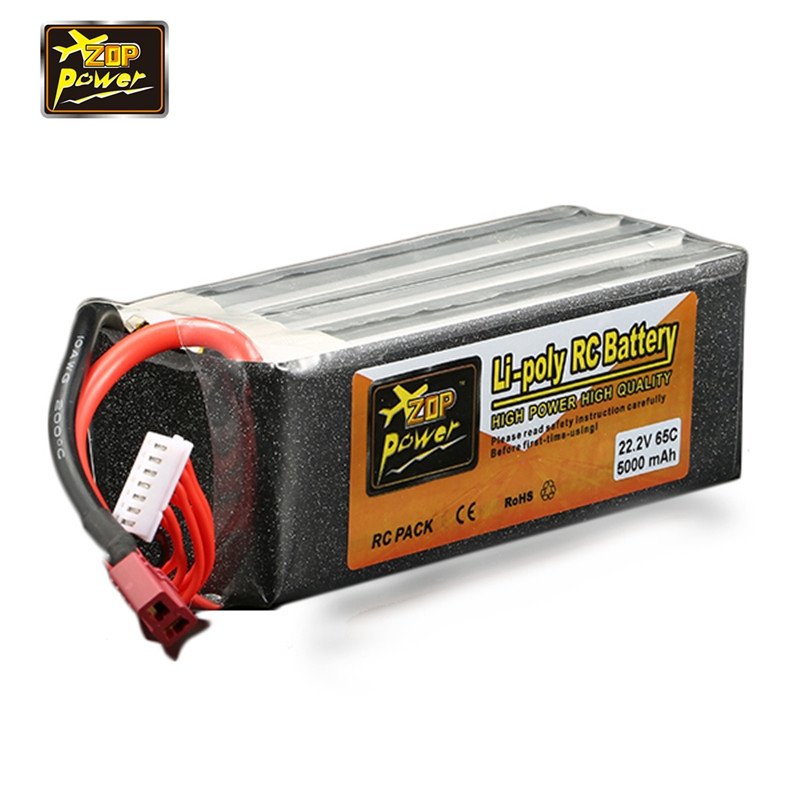 Newest ZOP Power 22.2V 5000mAh 6S 65C Lipo Battery T Plug Connector for RC Racing Drone Helicopter Models Toys Power Spare Part