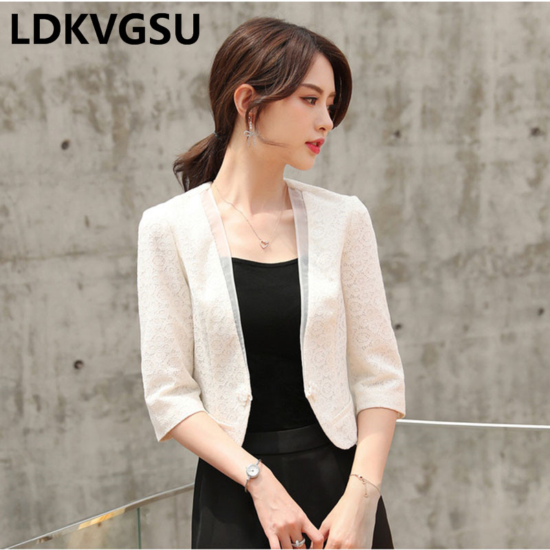 Ladies Small Suit Jacket 2018 Spring Summer New Fashion Elegant Lace Coat Women OL Slim White Short Jacket Plus Size Is646