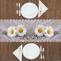 Sonst Grau Boden auf Gelb Weiß Daisy Blumen Floral 3d Druck Muster Moderne Tisch Runner für Küche Esszimmer Tischdecke-in Tischläufer aus Heim und Garten bei
