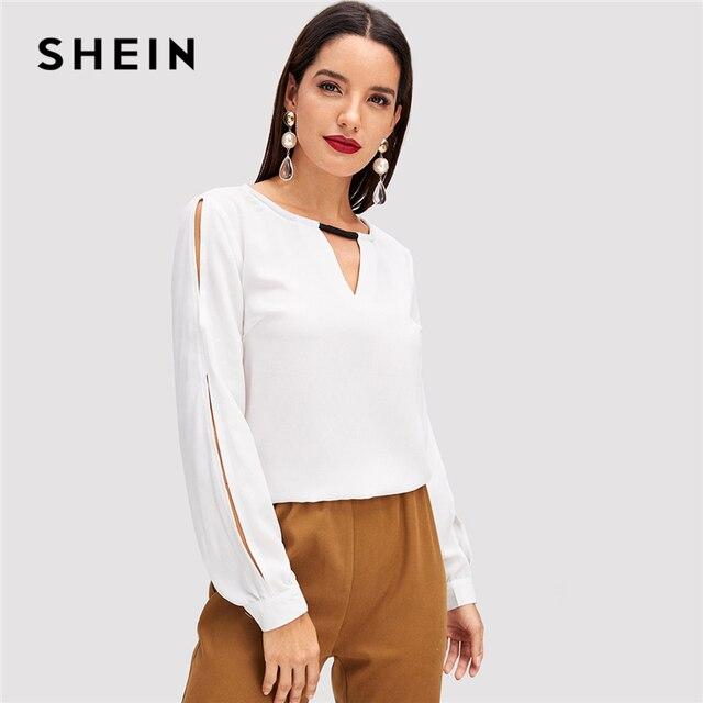 baab460564b SHEIN White Office Lady Elegant V-Cutout Neck Long Sleeve Solid Blouse 2018  Autumn Fashion Minimalist Women Tops And Blouses