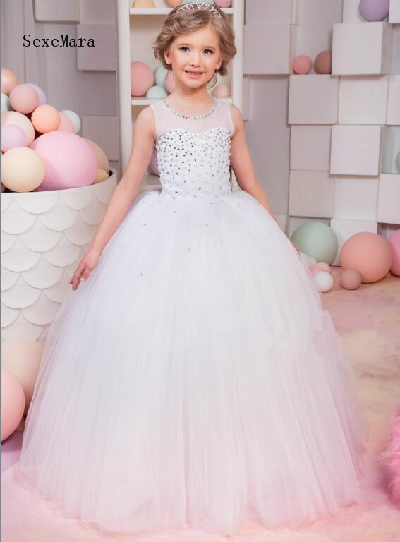 New White Ball Gown Pearls Beading Girls Dresses for Wedding Birthday Dress Pageant Gown First Communion Dress Size 2 6 8 10 12 цена 2017