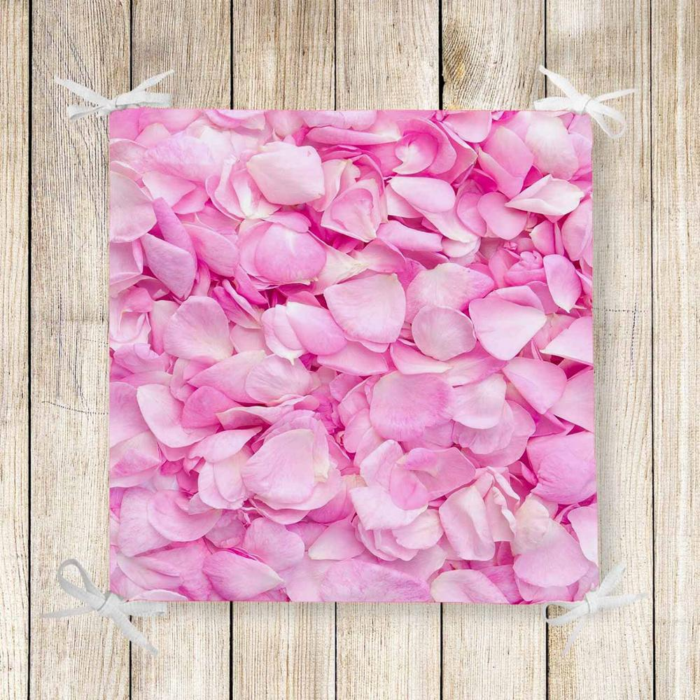 Else Pink White Roses Leaves Floral 3d Print Chair Pad Seat Cushion Soft Memory Foam Full Lenght Ties Non Slip Washable Zipper