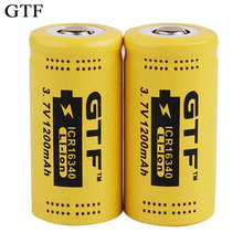 2PCS GTF CR123A 3.7V 1200mAh 16340 Protected Li-ion rechargeable battery for led flashlight with PCB