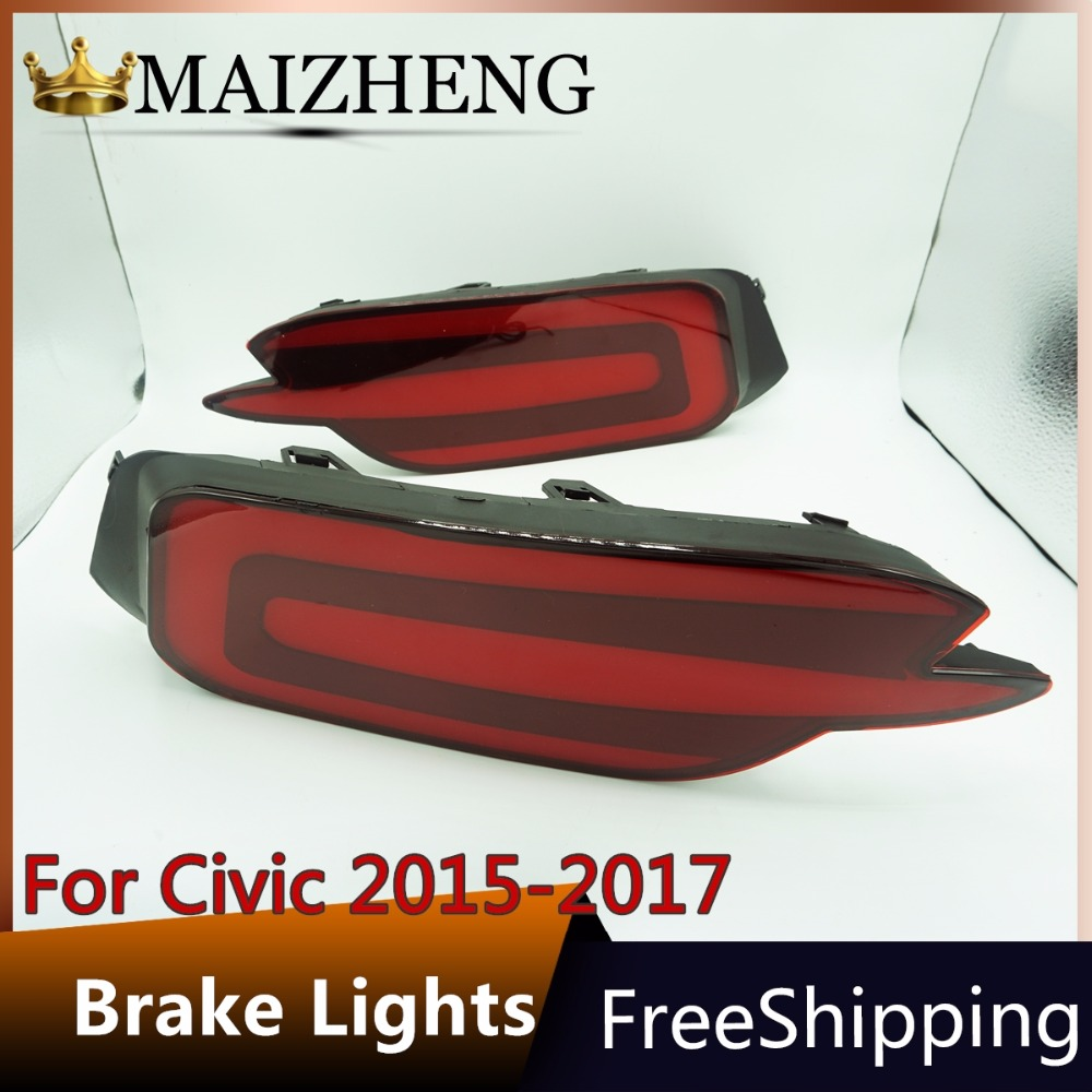 Car Styling for Honda Civic Taillights 2016-17 for Civic LED  Brake lights Tail Lamp Rear Lamp DRL+Brake+Park+Signal DRL lights car styling car rear bumper trims for honda civic 2016 2017 2018