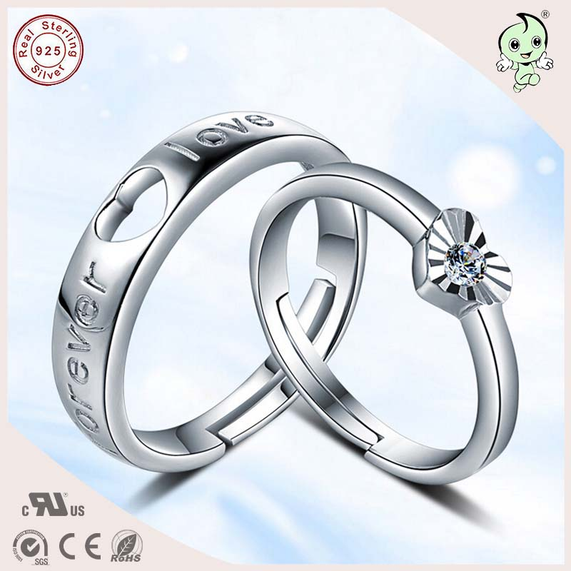 Hot Sale Good Quality Love Forever Solid Silver Engagement Rings For Couple and Lovers