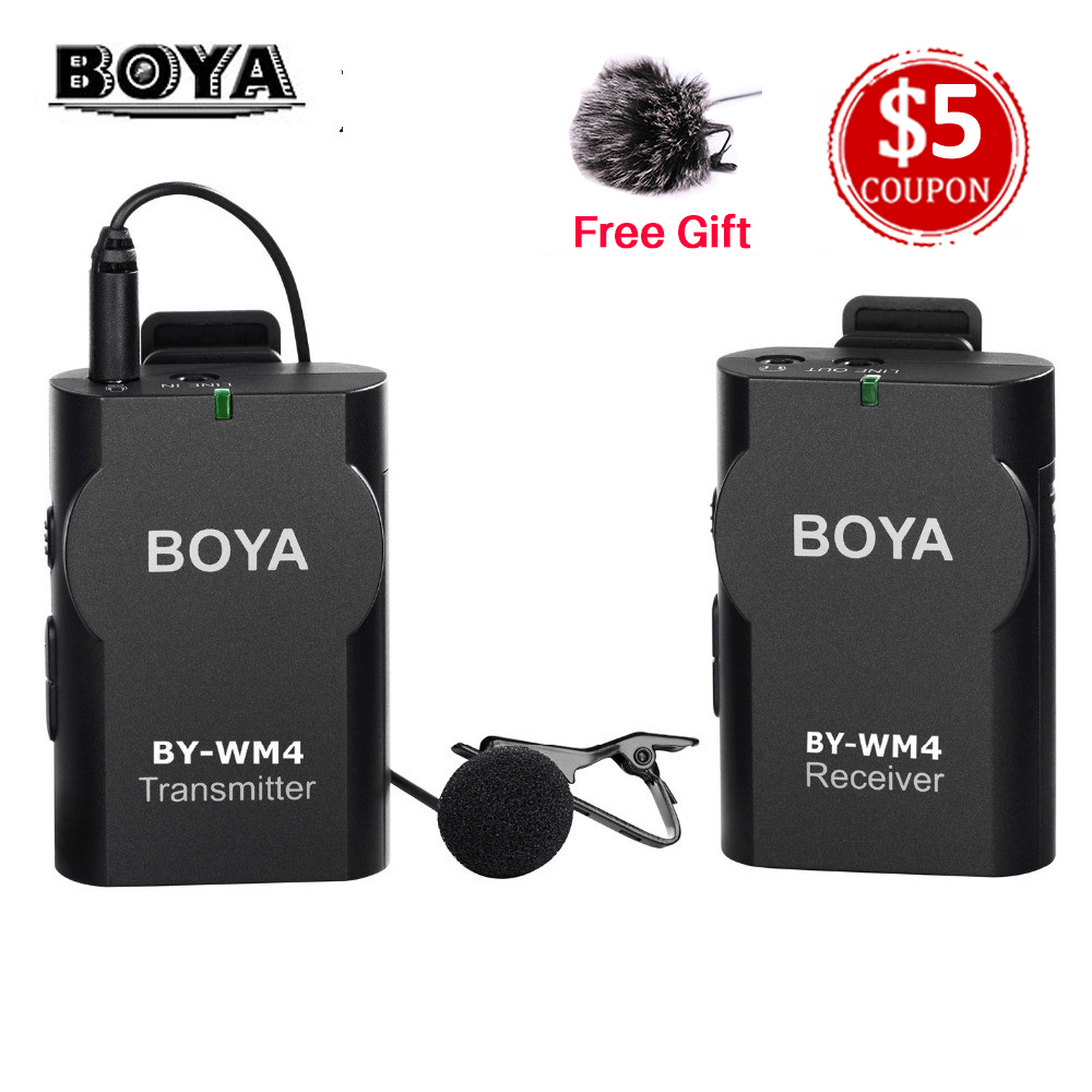 BOYA BY-WM4 Wireless Lavalier Microphone system for Camcorder iphone android smartphone Canon Nikon Sony Panasonic DSLR Camera boya by wm4 lavalier wireless microphone system for canon nikon sony panasonic dslr camera camcorder iphone android smartphone